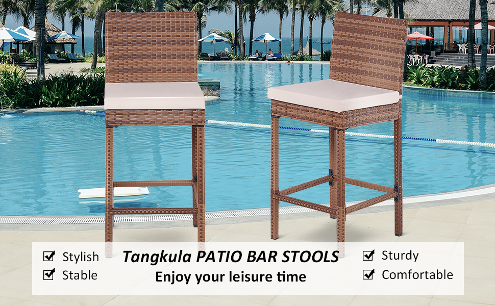 Tangkula Patio Bar Stool, 2 Piece Outdoor Patio Metal Frame Heavy All  Weatherproof Wicker Barstool with Cushions, Back Support and Footrest High  ...