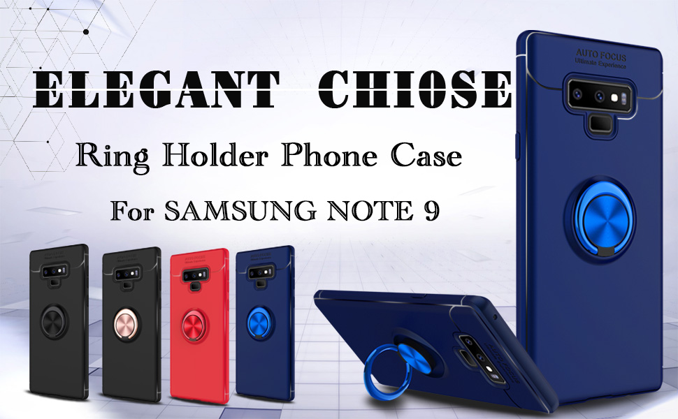 Elegant Choise Galaxy Note 9 Case, Hybrid Slim Durable Soft 360 Degree Rotating Ring Kickstand Protective Case with Magnetic Case Cover