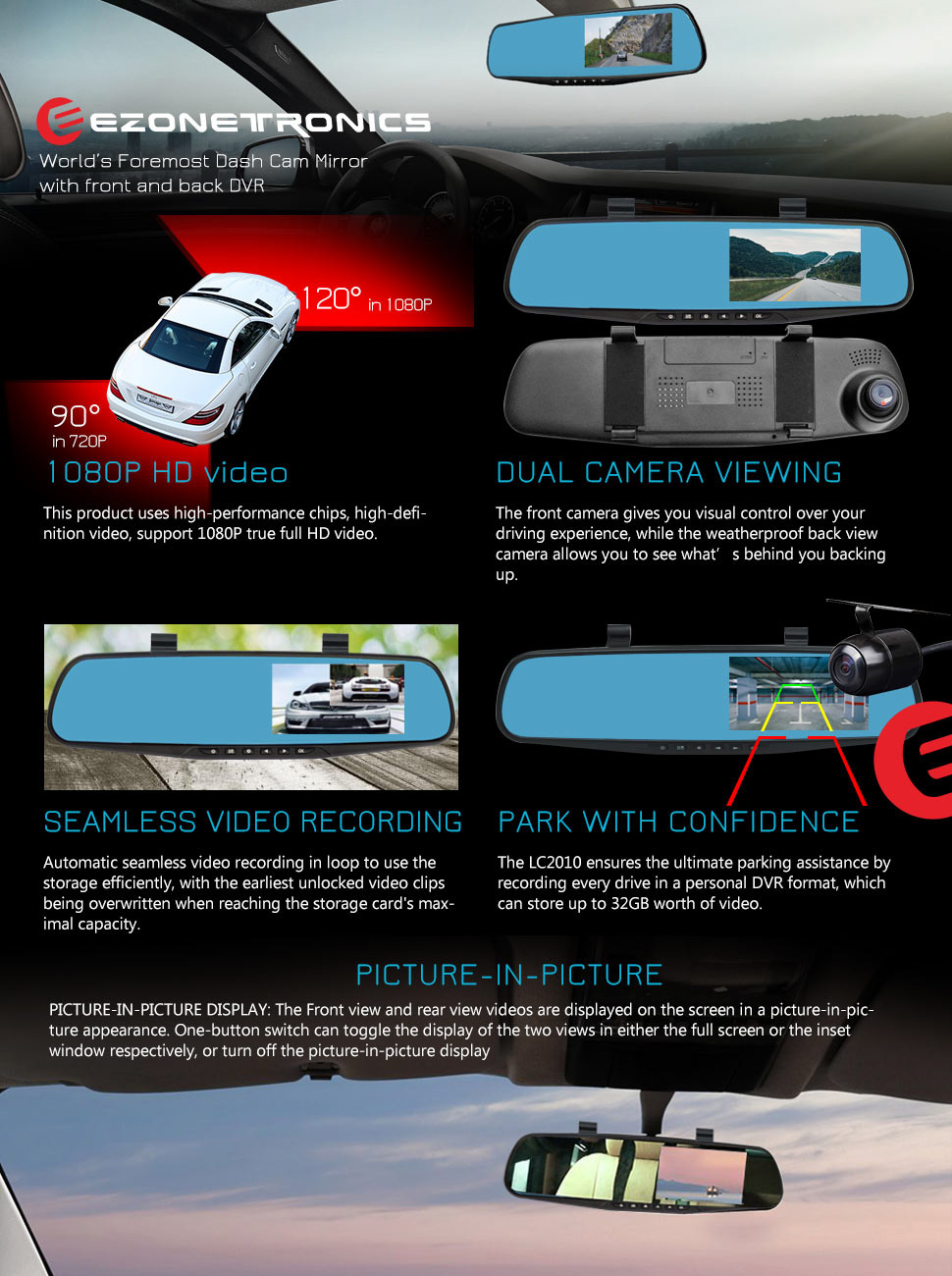 Ezonetronics Car Camera Car Video Recorder Full Hd 1080p Car Video Camera 4 3 Inch Lcd With Dual Lens For Vehicles Front Rearview Mirror Dvr