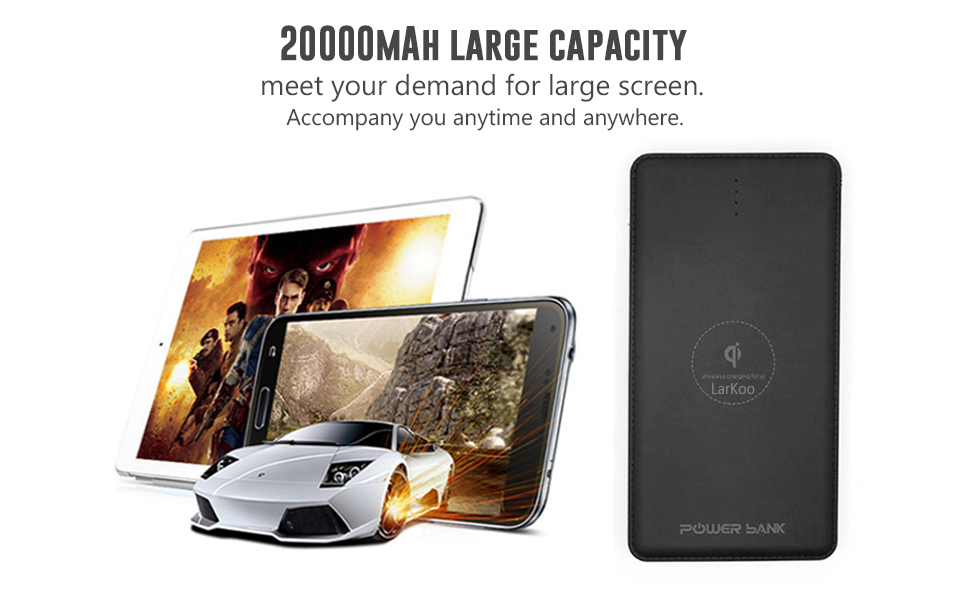 Amazon.com: LarKoo Cargador inalámbrico portátil 20000 mAh ...