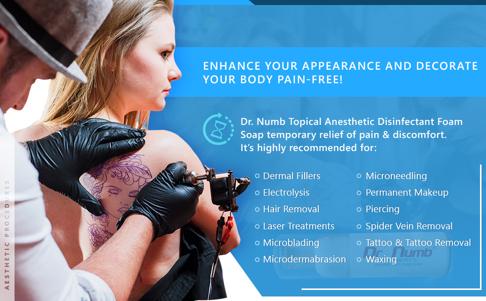 tattoo removal aftercare foam soap dr numb waxing foaming wash hands piercing topical anesthetic