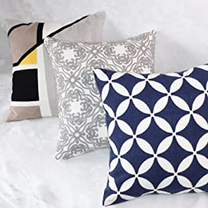 Plain Jann Cotton Embroidery Throw Pillow Cover Premium Zipper Pillow Cover Decorative for Living Room 18x18 Inches Cushion Cover 1PC