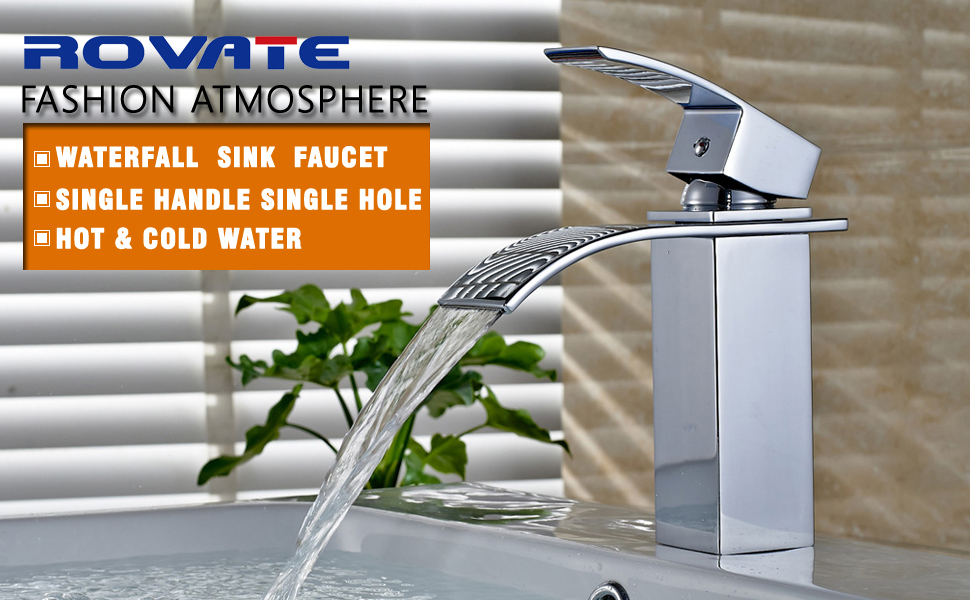 ROVATE Bathroom Sink Faucet, Brass Single Handle Single Hole ...