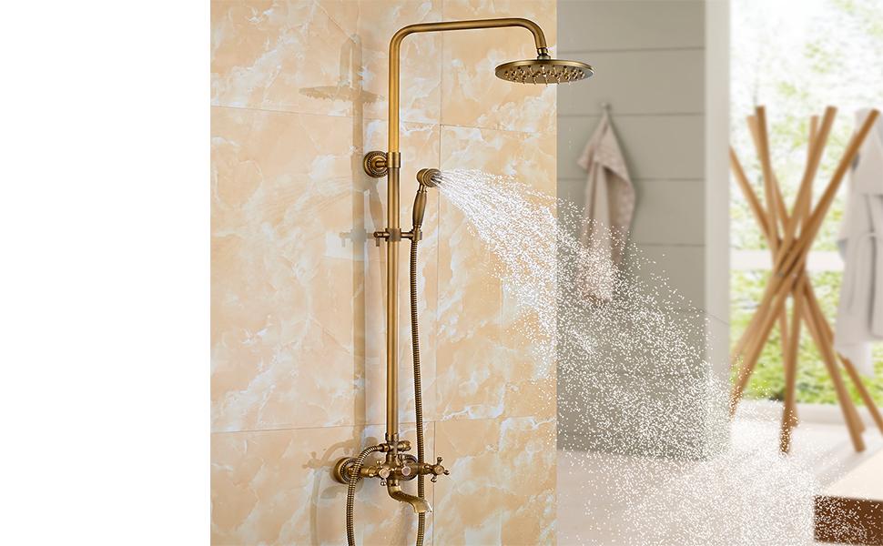 ROVATE Bathroom Rain Mixer Shower Combo Set Wall Mounted Height ...