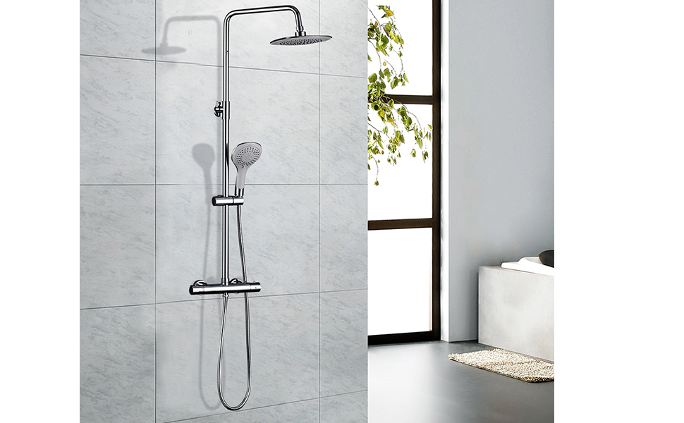ROVATE Bathroom Thermostatic Rain Mixer Shower Combo Set Wall ...