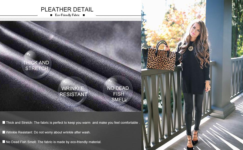 women faux leather leggings