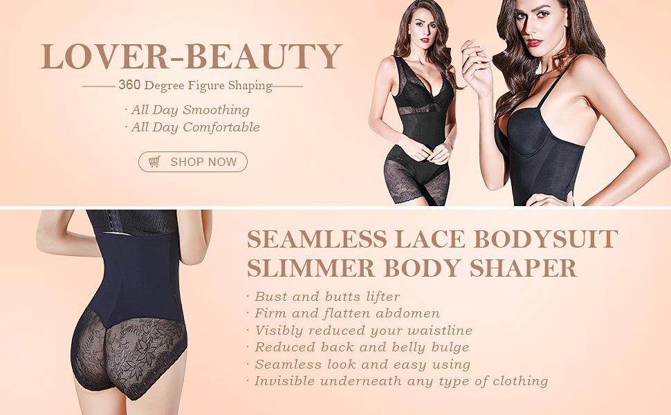 2c91622c83c Lover-Beauty Women s Seamless Shapewear Lace Body Shaper Firm Butt Lifter  Bodysuit