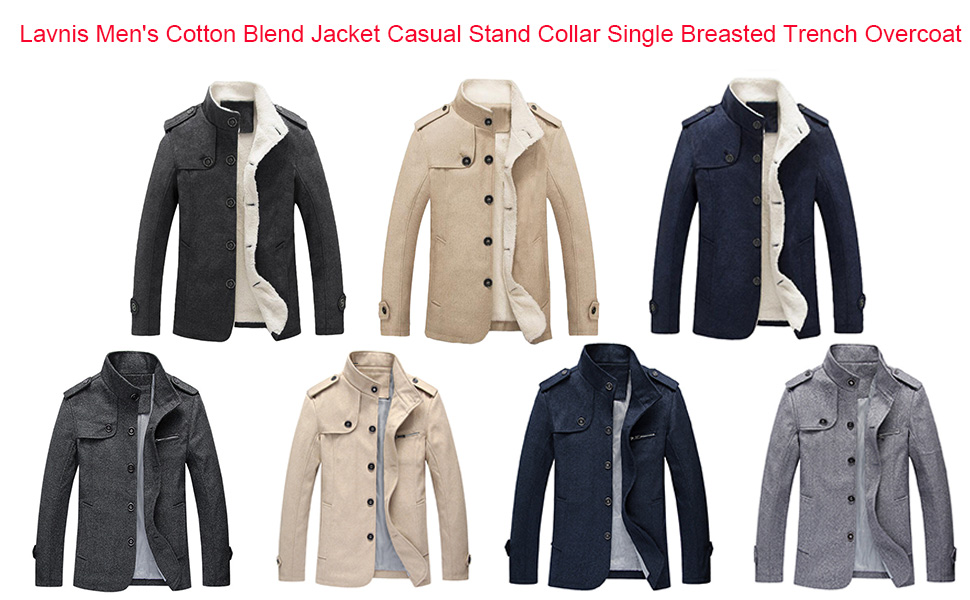 c34bb8c8de Lavnis Men s Cotton Blend Jacket Casual Stand Collar Single Breasted ...