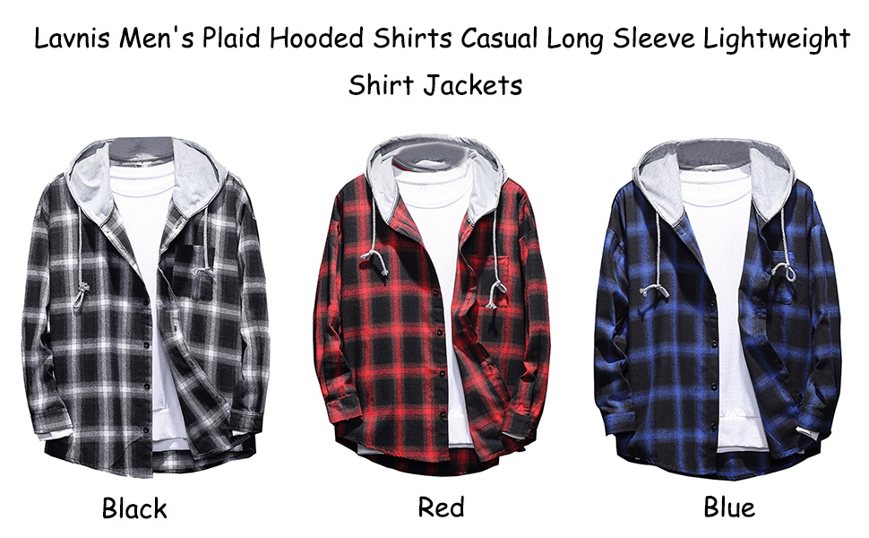 Tymhgt Mens Autumn Hooded Shirts Plaid Long-Sleeve Lightweight Shirts Jackets