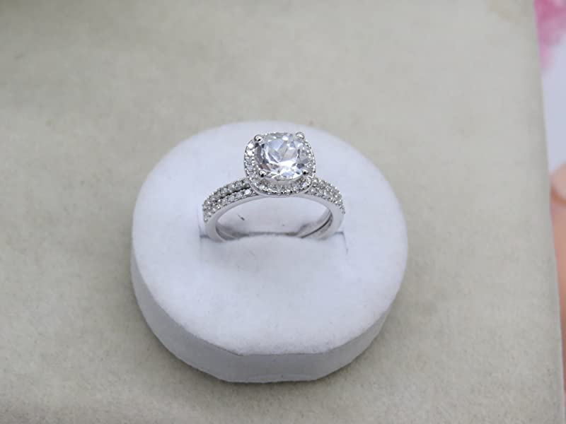 ring gem white sapphire created product silver of dancing sterling image charm