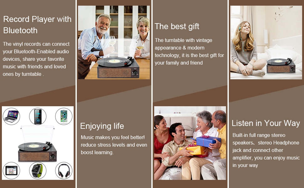 Amazon.com: Bluetooth Record Player Belt-Driven 3-Speed ...