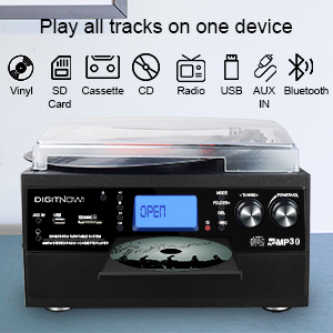 DIGITNOW Bluetooth Record Player Turntable with Stereo Speaker, LP Vinyl to MP3 Converter with CD, Cassette, Radio, Aux in and USB/SD Encoding, Remote ...