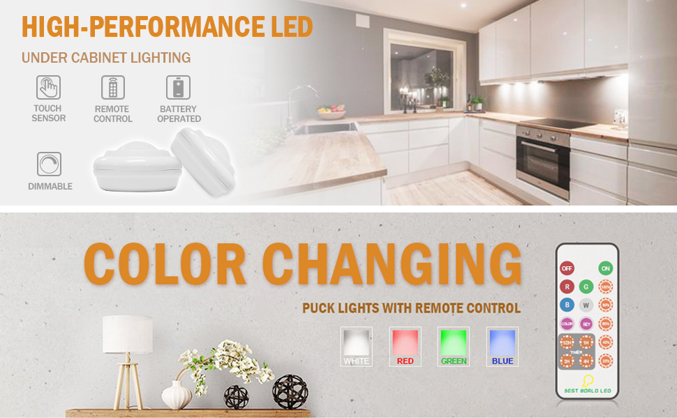 Bwl wireless led puck light multi color light with remote control enjoy the interesting of color changing function aloadofball Gallery
