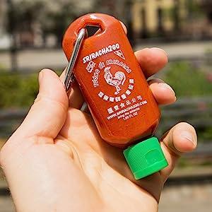 Mini Sriracha Keychain Bottle In Hand