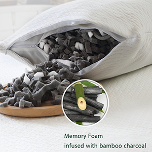 3.Bamboo charcoal memory foam regulates moisture, temperature and odor.