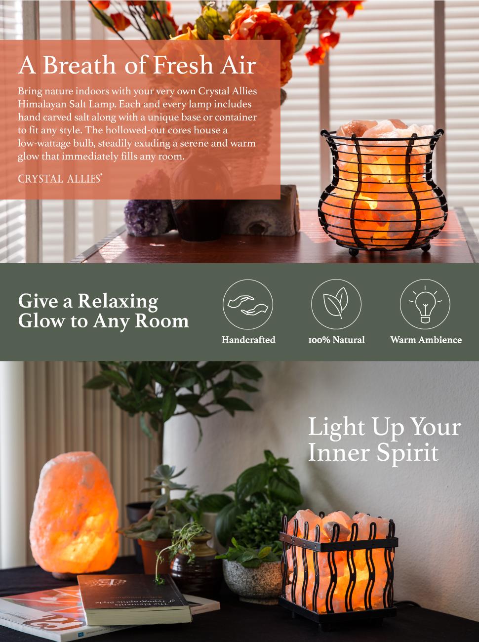 Amazon.com: Crystal Allies Natural Himalayan Salt Lamp and 2 Piece ...