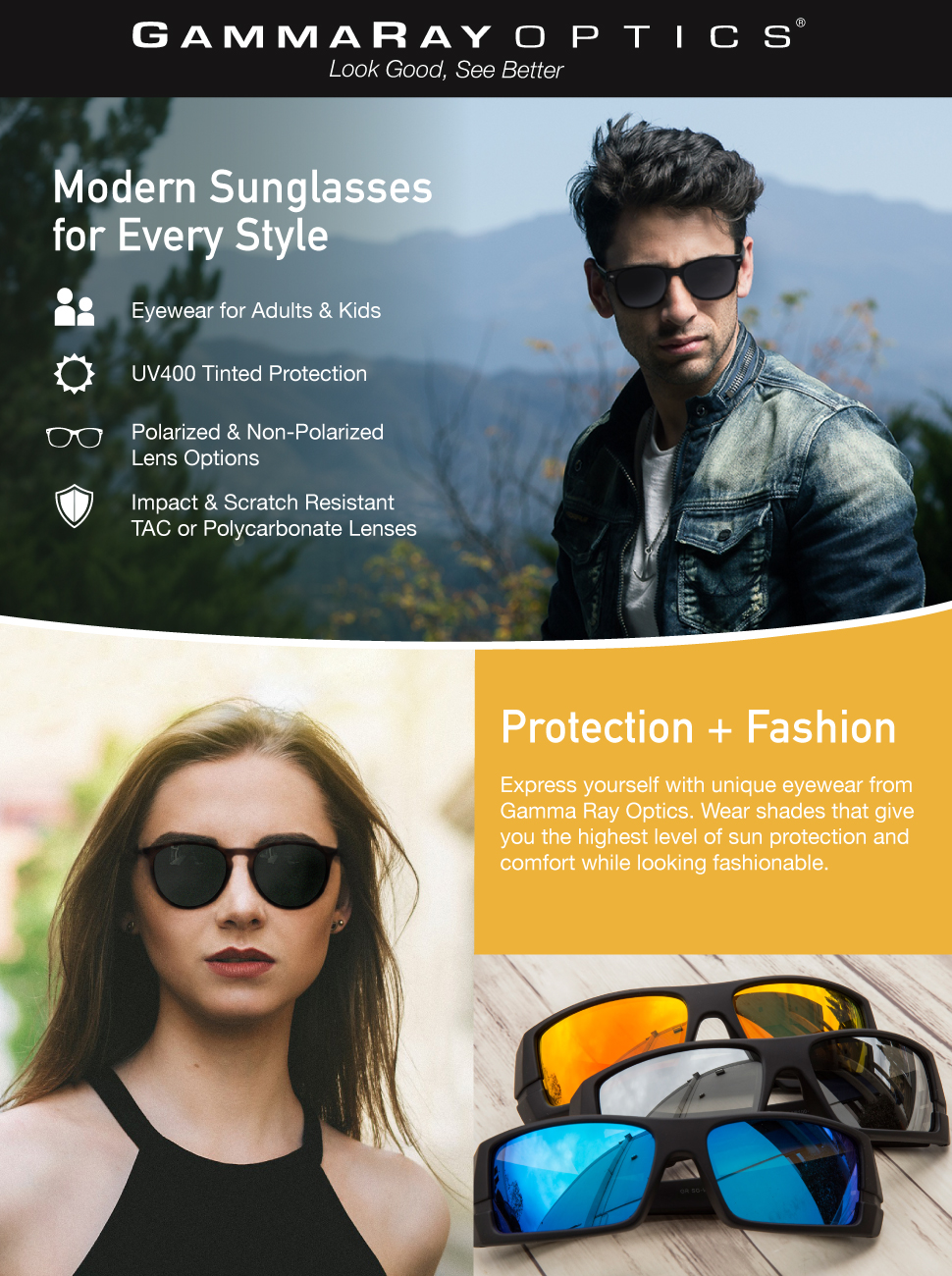 9eee2c4e796 Amazon.com  Gamma Ray Polarized UV400 Classic Style Sunglasses with ...