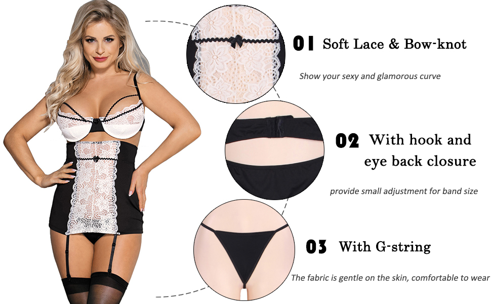 9e66259fca7 ohyeahlady Women Lace Mesh Lingerie Set Plus Size Bra and High ...