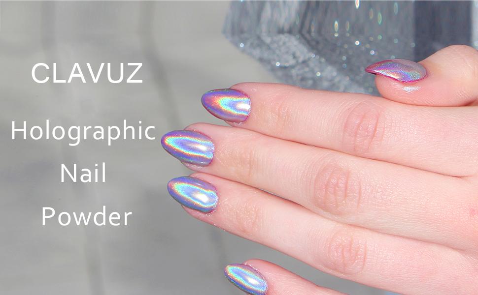 Amazon.com : CLAVUZ 1g/Box Laser Holographic Nail Powder Rainbow ...