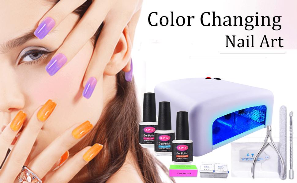 Amazon.com : Gel Nail Polish Kit with UV Light CLAVUZ 5pcs Soak Off ...
