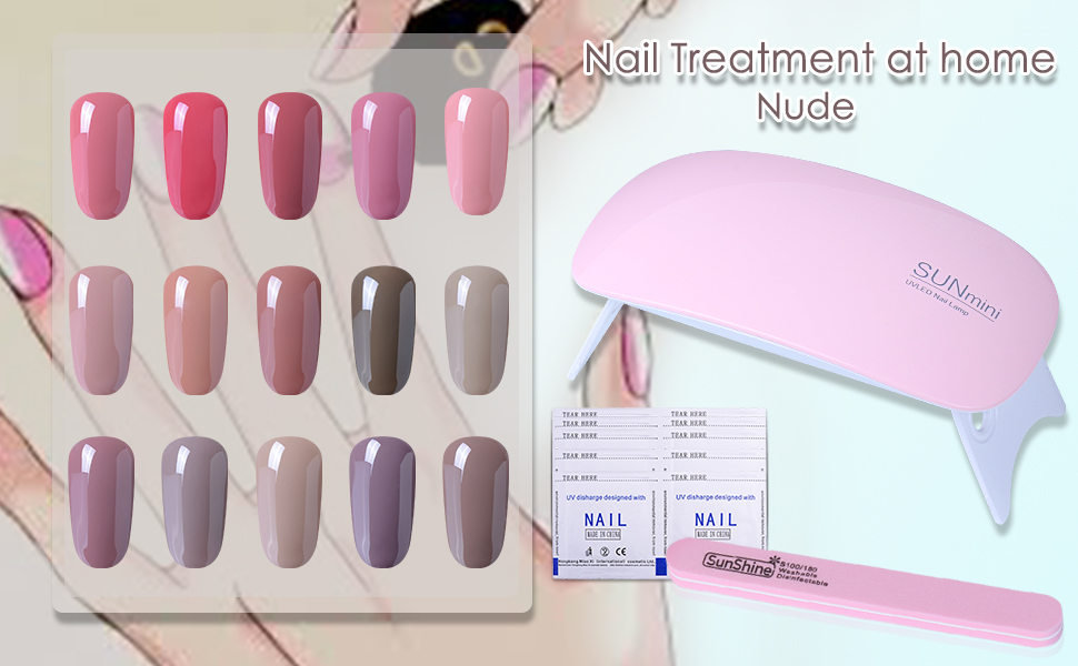 Details About 6pcs Nude Colors Gel Nail Polish Starter Kit Uv Led Lamp Top Base Coat Gift Set