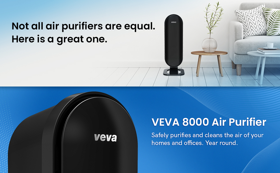 Air purifier in a living room setting with a bold copy on top closeup air purifier with copies below