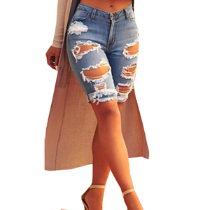 Tribear Womens Summer Ripped Hole High Waist Casual Short Jeans