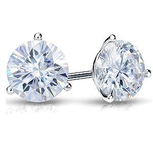 3-Prong Moissanite Stud Earrings