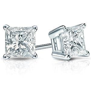 Men's or Women's Princess-Cut Diamond Stud Earrings
