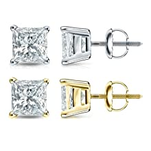 Yellow Gold or White Gold Princess-Cut Diamond Stud Earrings