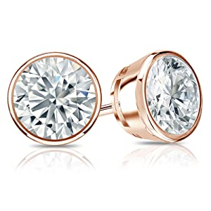 gold earrings three set ctw diamond stud angle stone jewelry white bezel in p