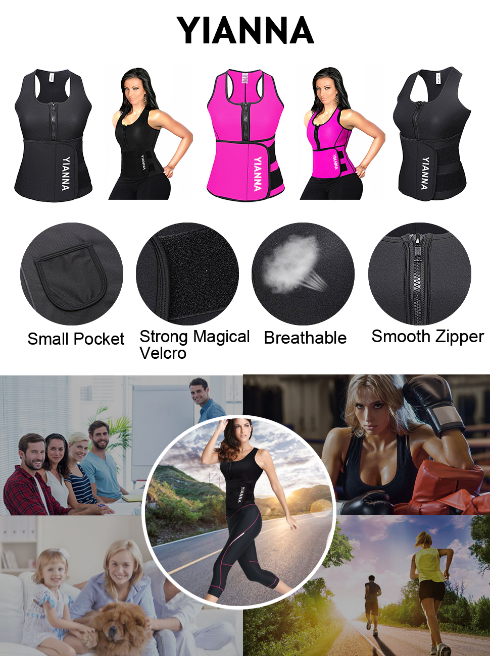 0427313f23d YIANNA Women s Waist Trainer Trimmer Vest - Sauna Tank Top Vest with  Adjustable Shaper Trainer Belt - High Quality Neoprene - Enhance Workout  During Cardio ...