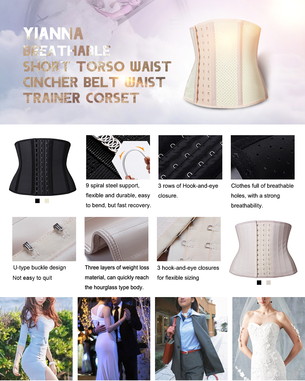 798f4356a90 YIANNA Short torso Waist trainer corset for Weight loss Sports Workout  Hourglass Body Shaper Fat Burner