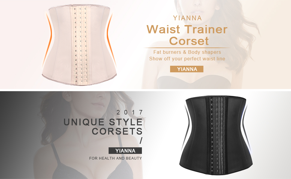 210170fa80 YIANNA Womens Long Torso Waist Trainer Corset Latex Sports Workout Waist  Trimmer For Hourglass Body Shaper. Color  Black ...