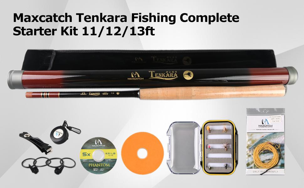 Tenkara Line Maxcatch 10/' 11/' 12/' 13/' Tenkara Rod Combo Complete Kit Tippet