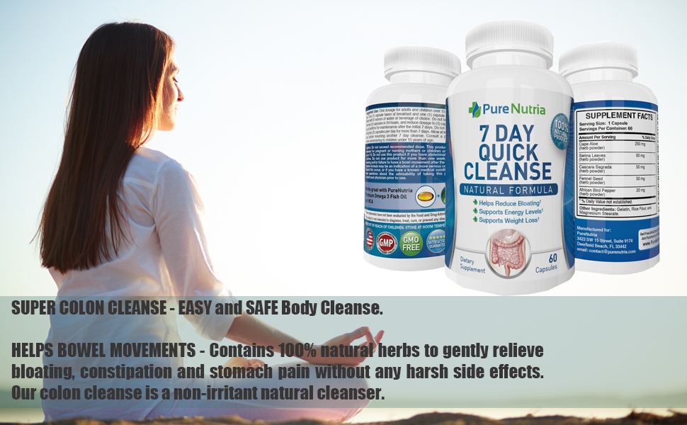 7 Day Quick Colon Cleanse Detox For Weight Loss Extra Strength Gut Cleanser Give Your System A