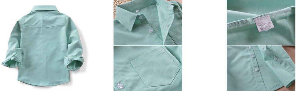 boys green oxford shirt details