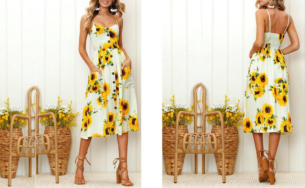 womens floral dress, sunflower dress, sexy dress, sunflower dresses for women, womens sun dress