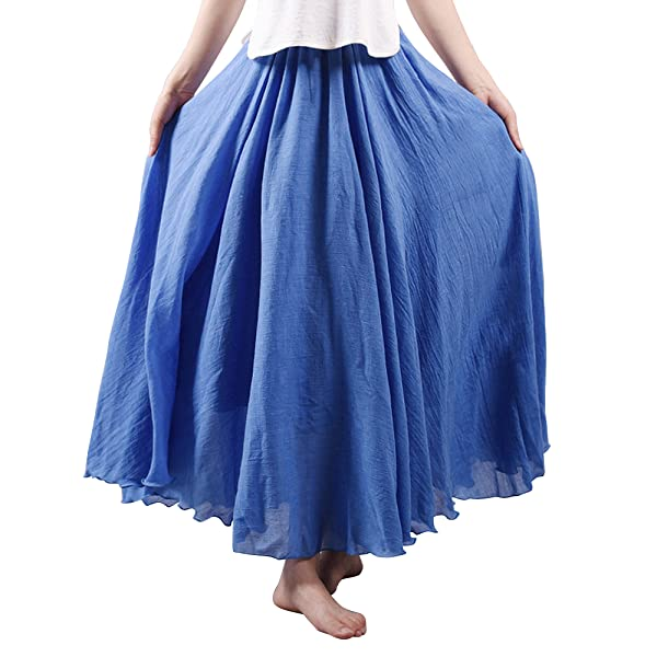 294b941b3141c OCHENTA Women s Bohemian Elastic Waist Cotton Floor Length Skirt ...