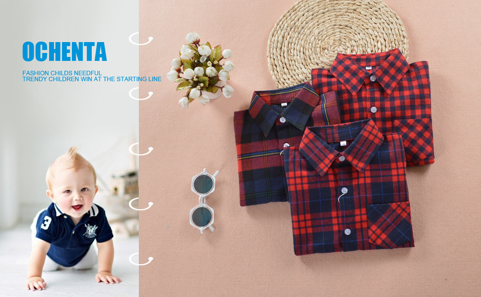 OCHENTA Boys Long Sleeve Button Down Plaid Flannel Shirt
