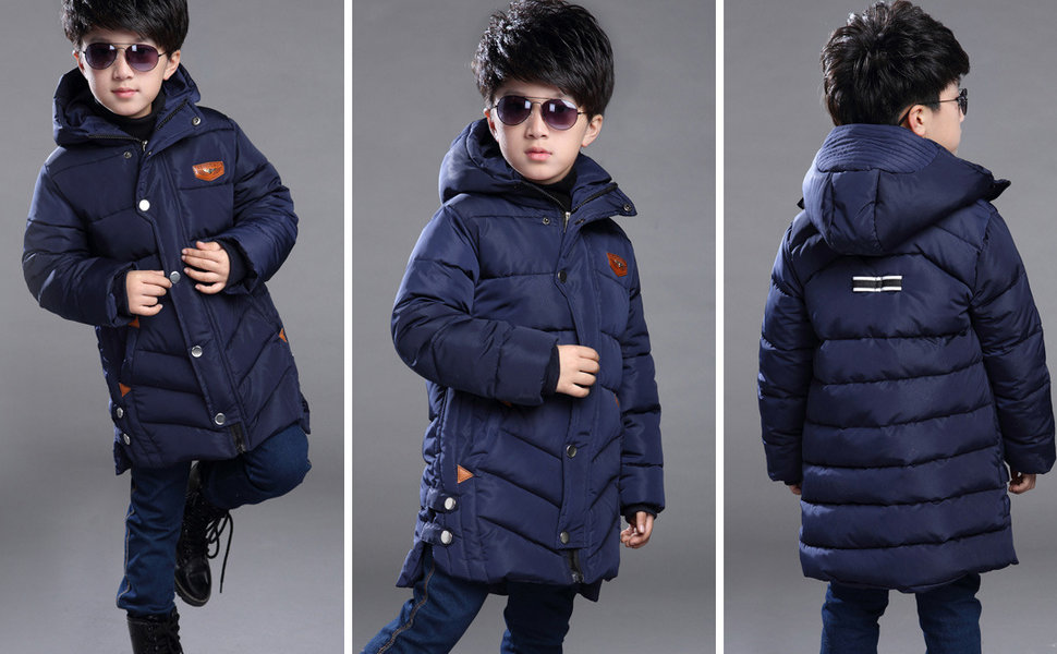 Boys Middle Long Solid Hooded Winter Coat