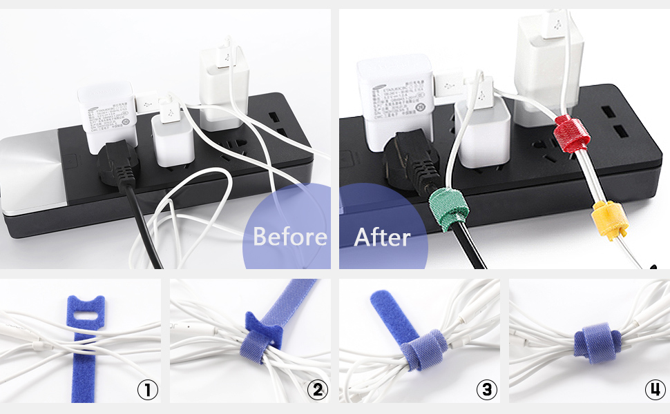 Microfiber Cloth 6-Inch Hook and Loop Cord Ties Attmu 50 PCS Reusable Fastening Cable Ties Black