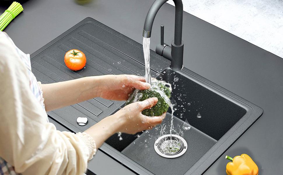 Colador de cocina Colador de drenaje con mango Ewadoo Colador de malla de malla de fregadero de acero inoxidable para eliminaci/ón de basura Borde ancho 4-1 Paquete de 2 3 pulgadas Di/ámetro