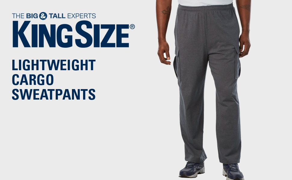 classic style of 2019 genuine shoes vast selection KingSize Men's Big & Tall Lightweight Cargo Sweatpants