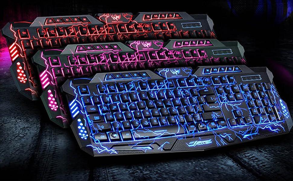 amazon com backlit gaming keyboard bavier laser carving characters