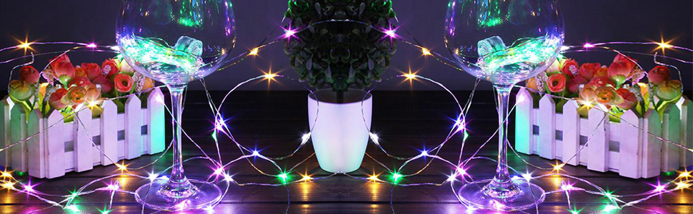 BAVIER Muti Color String Lights,16FT//5M 50 LED Starry String Lights Battery Operated Super Bright Led Rope Lights Copper Wire Lights for Christmas and Outdoor. Muti Color