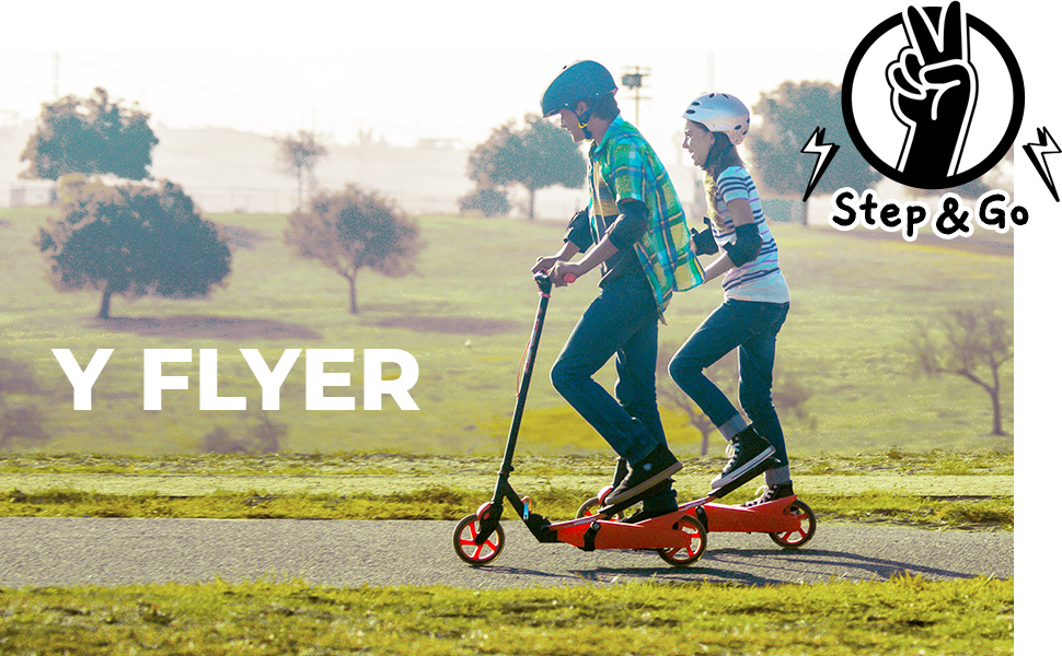 Yvolution Y Flyer Kids Pedaling Stepper Scooter - Suitable for Ages 7 and Up
