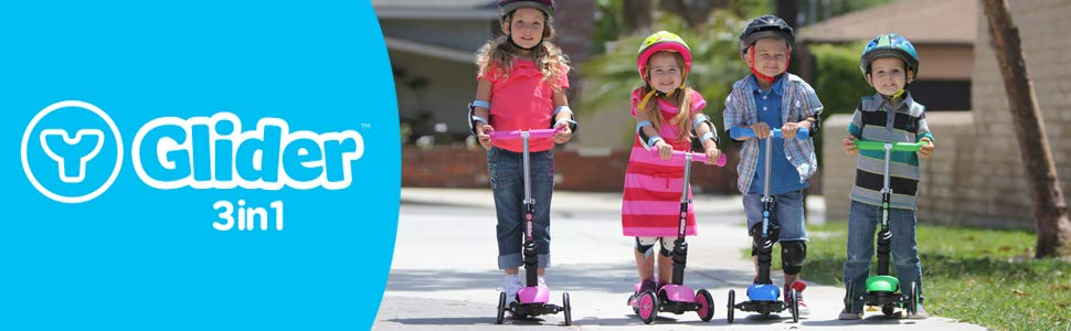 Yvolution Y Glider 3in1 | 3 Wheels Mini Kick Scooter with Removable Seat Great Present for Kids and Toddlers