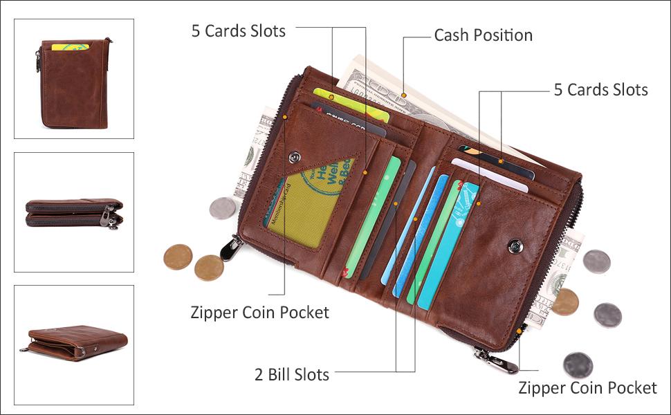 Genuine Leather Mens Wallet Handmade Pocket Card Coin Wallet Purse Zipper Around