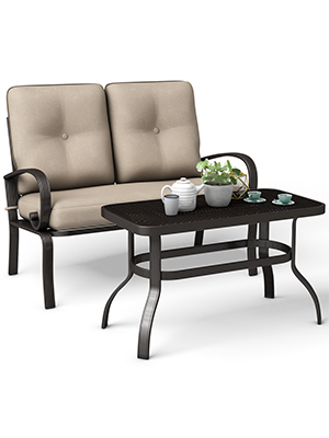 loveseat and table